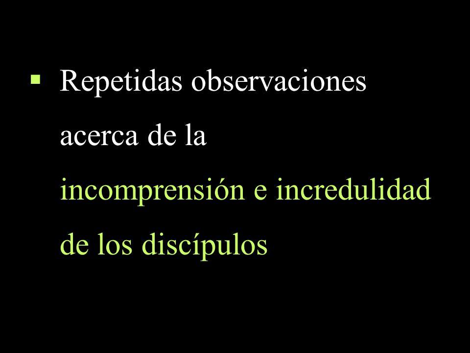 Repetidas observaciones acerca de la incomprensión e incredulidad de los discípulos