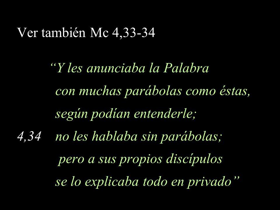 Ver también Mc 4,33-34 Y les anunciaba la Palabra con muchas parábolas como éstas, según podían entenderle; 4,34 no les hablaba sin parábolas; pero a
