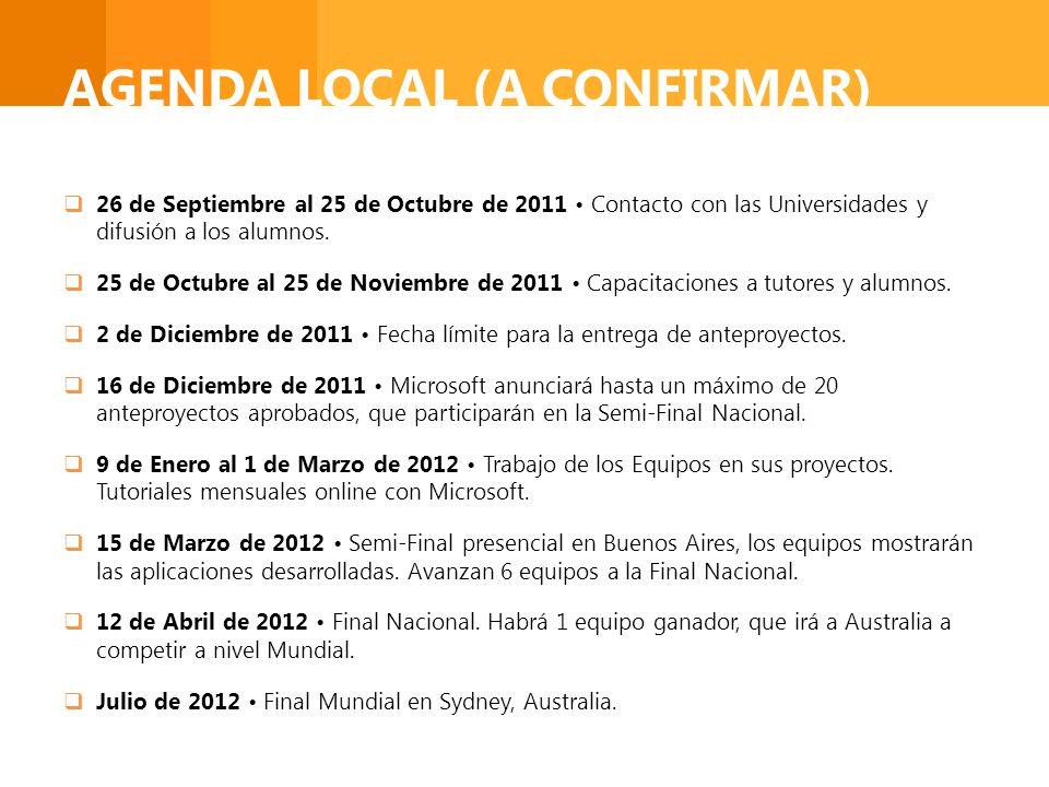 AGENDA LOCAL (A CONFIRMAR) 26 de Septiembre al 25 de Octubre de 2011 Contacto con las Universidades y difusión a los alumnos. 25 de Octubre al 25 de N