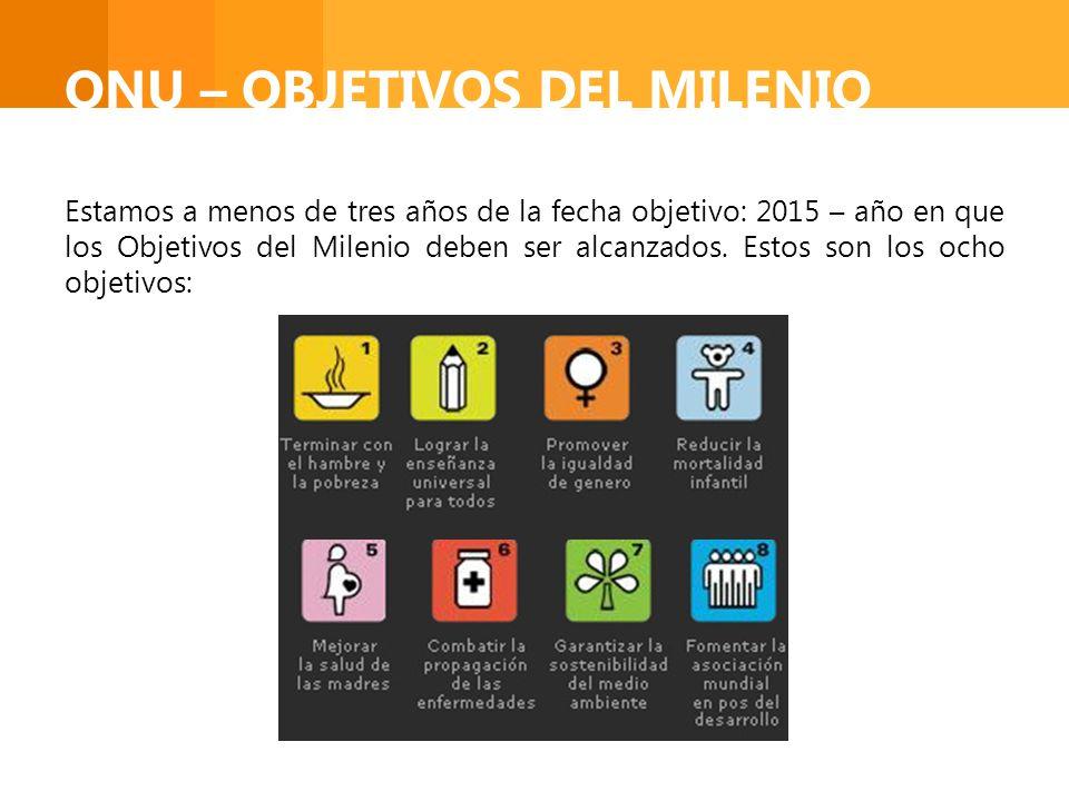 ONU – OBJETIVOS DEL MILENIO Estamos a menos de tres años de la fecha objetivo: 2015 – año en que los Objetivos del Milenio deben ser alcanzados. Estos