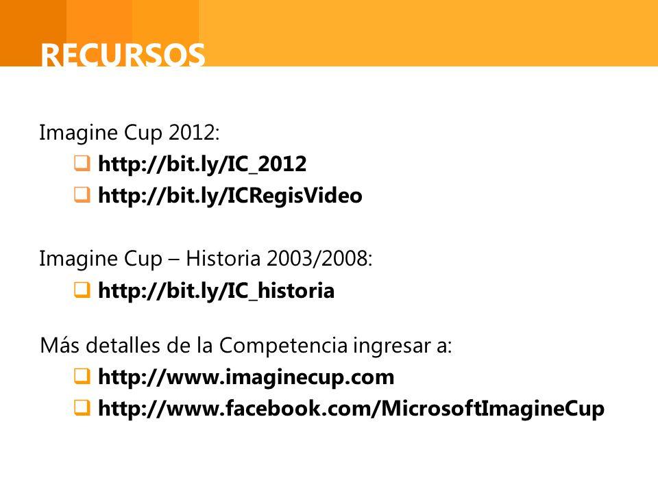 RECURSOS Imagine Cup 2012: http://bit.ly/IC_2012 http://bit.ly/ICRegisVideo Imagine Cup – Historia 2003/2008: http://bit.ly/IC_historia Más detalles d