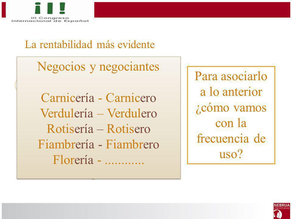 La rentabilidad más evidente Palabras nuevas Derivación morfológica Lemas Negocios y negociantes Carnicería - Carnicero Verdulería – Verdulero Rotiser