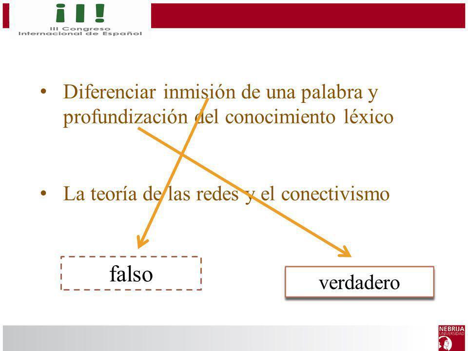 Diferenciar inmisión de una palabra y profundización del conocimiento léxico La teoría de las redes y el conectivismo verdadero falso