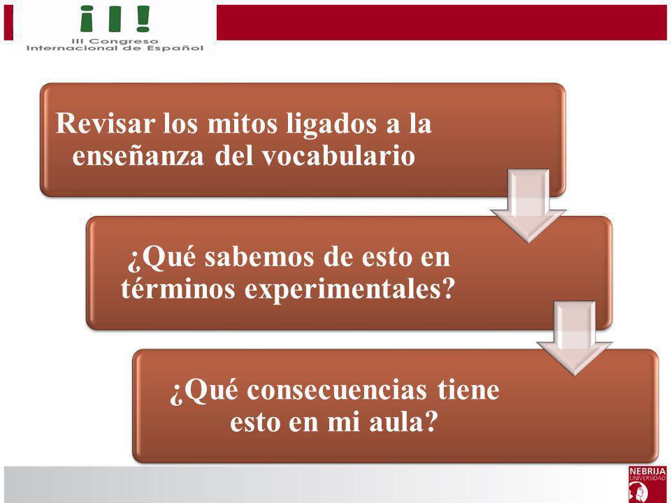 Revisar los mitos ligados a la enseñanza del vocabulario ¿Qué sabemos de esto en términos experimentales? ¿Qué consecuencias tiene esto en mi aula?
