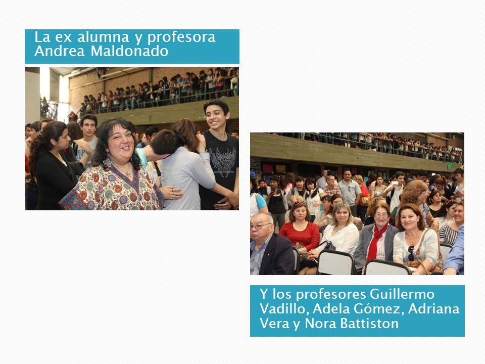 La ex alumna y profesora Andrea Maldonado Y los profesores Guillermo Vadillo, Adela Gómez, Adriana Vera y Nora Battiston