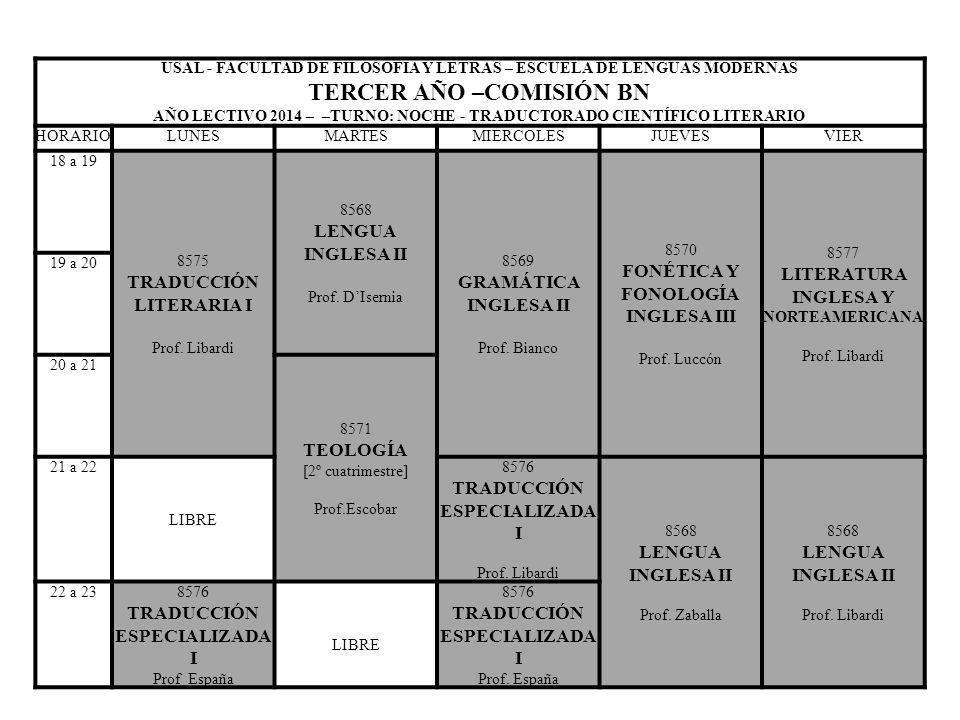 USAL - FACULTAD DE FILOSOFIA Y LETRAS – ESCUELA DE LENGUAS MODERNAS TERCER AÑO –COMISIÓN EN AÑO LECTIVO 2014 – TURNO: NOCHE - LIC.