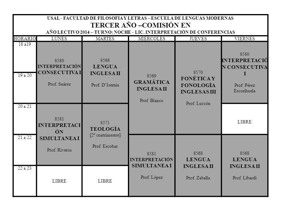 USAL - FACULTAD DE FILOSOFIA Y LETRAS – ESCUELA DE LENGUAS MODERNAS CUARTO AÑO –COMISIÓN AN AÑO LECTIVO 2014 – TURNO: NOCHE - LIC.