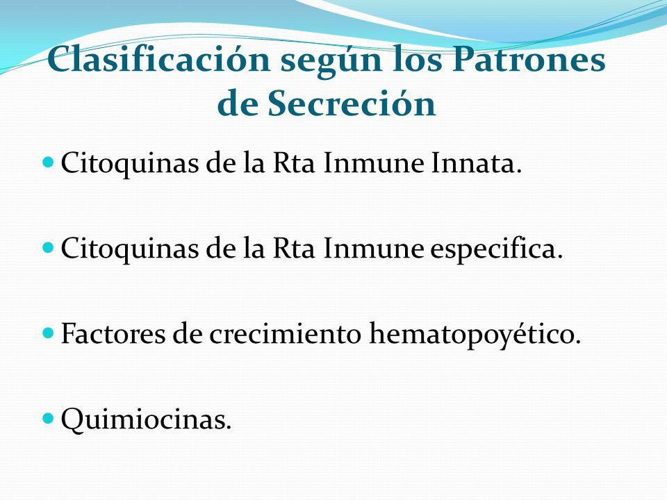 Clasificación según los Patrones de Secreción Citoquinas de la Rta Inmune Innata. Citoquinas de la Rta Inmune especifica. Factores de crecimiento hema