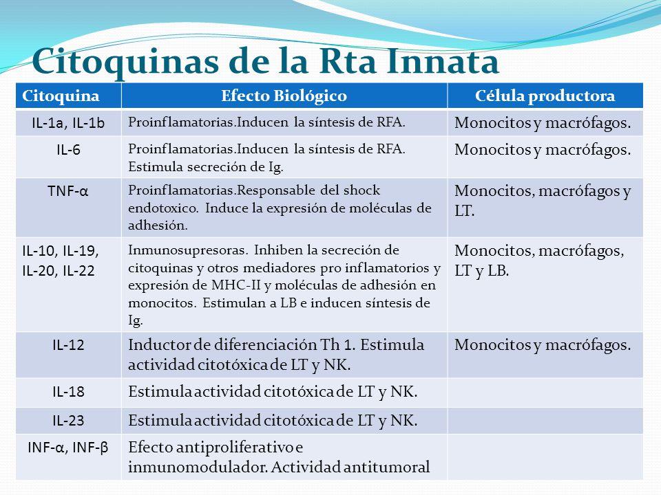 Citoquinas de la Rta Innata CitoquinaEfecto BiológicoCélula productora IL-1a, IL-1b Proinflamatorias.Inducen la síntesis de RFA. Monocitos y macrófago