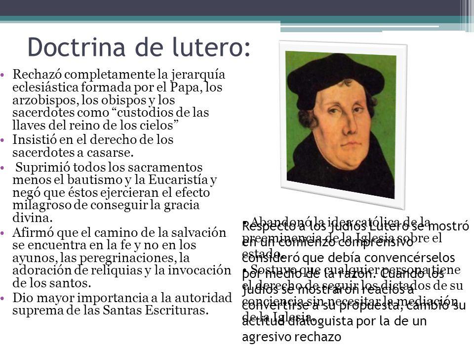 Doctrina de lutero: Rechazó completamente la jerarquía eclesiástica formada por el Papa, los arzobispos, los obispos y los sacerdotes como custodios d