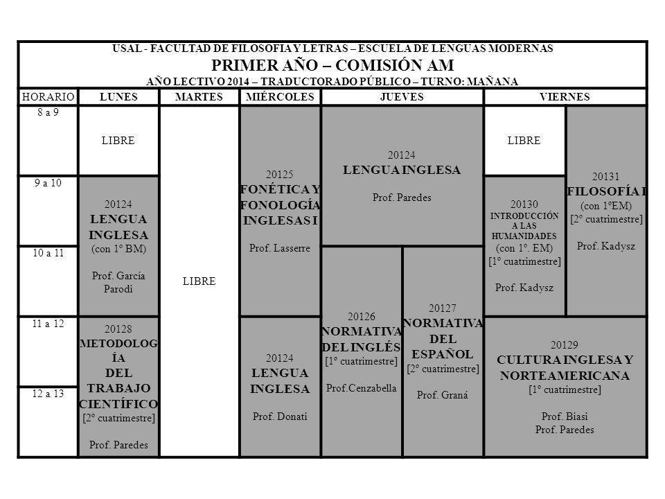 USAL - FACULTAD DE FILOSOFIA Y LETRAS – ESCUELA DE LENGUAS MODERNAS PRIMER AÑO – COMISIÓN AM AÑO LECTIVO 2014 – TRADUCTORADO PÚBLICO – TURNO: MAÑANA H