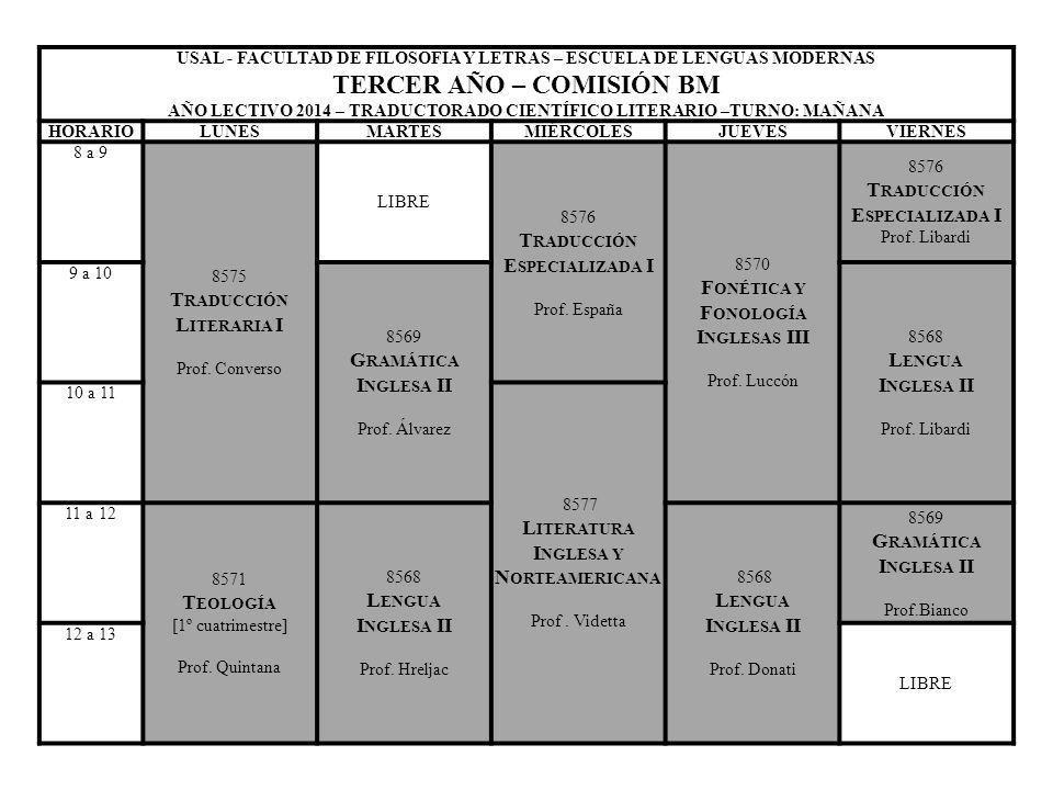 USAL - FACULTAD DE FILOSOFIA Y LETRAS – ESCUELA DE LENGUAS MODERNAS TERCER AÑO – COMISIÓN BM AÑO LECTIVO 2014 – TRADUCTORADO CIENTÍFICO LITERARIO –TUR
