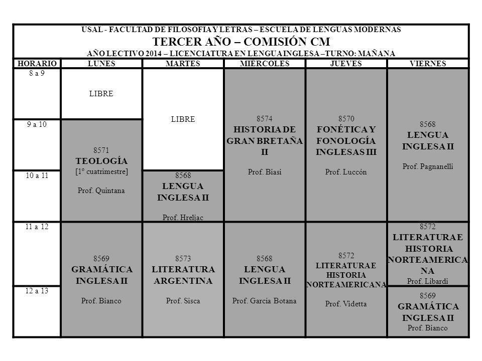 USAL - FACULTAD DE FILOSOFIA Y LETRAS – ESCUELA DE LENGUAS MODERNAS TERCER AÑO – COMISIÓN CM AÑO LECTIVO 2014 – LICENCIATURA EN LENGUA INGLESA –TURNO: