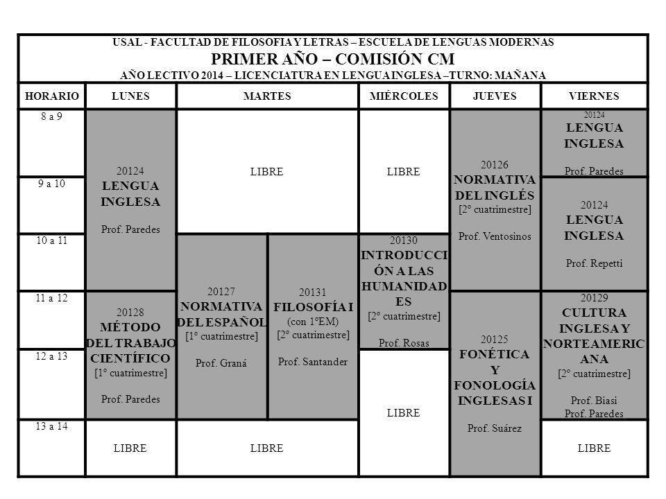 USAL - FACULTAD DE FILOSOFIA Y LETRAS – ESCUELA DE LENGUAS MODERNAS PRIMER AÑO – COMISIÓN CM AÑO LECTIVO 2014 – LICENCIATURA EN LENGUA INGLESA –TURNO: