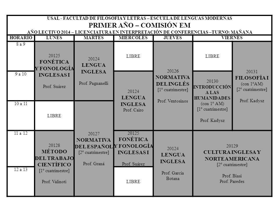 USAL - FACULTAD DE FILOSOFIA Y LETRAS – ESCUELA DE LENGUAS MODERNAS PRIMER AÑO – COMISIÓN EM AÑO LECTIVO 2014 – LICENCIATURA EN INTERPRETACIÓN DE CONF