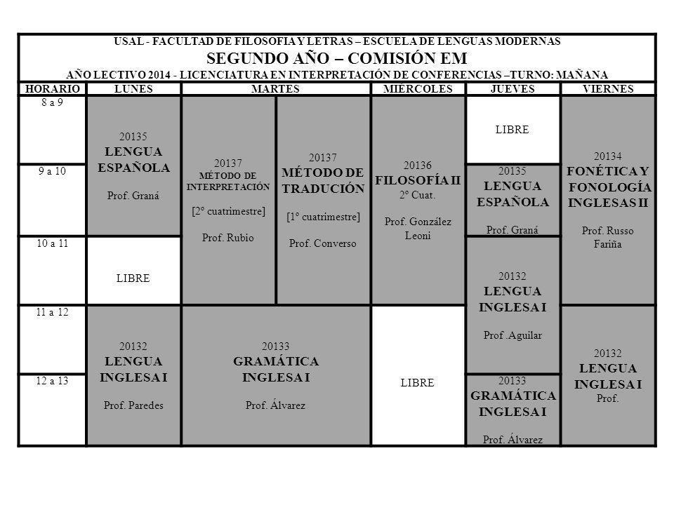 USAL - FACULTAD DE FILOSOFIA Y LETRAS – ESCUELA DE LENGUAS MODERNAS SEGUNDO AÑO – COMISIÓN EM AÑO LECTIVO 2014 - LICENCIATURA EN INTERPRETACIÓN DE CON