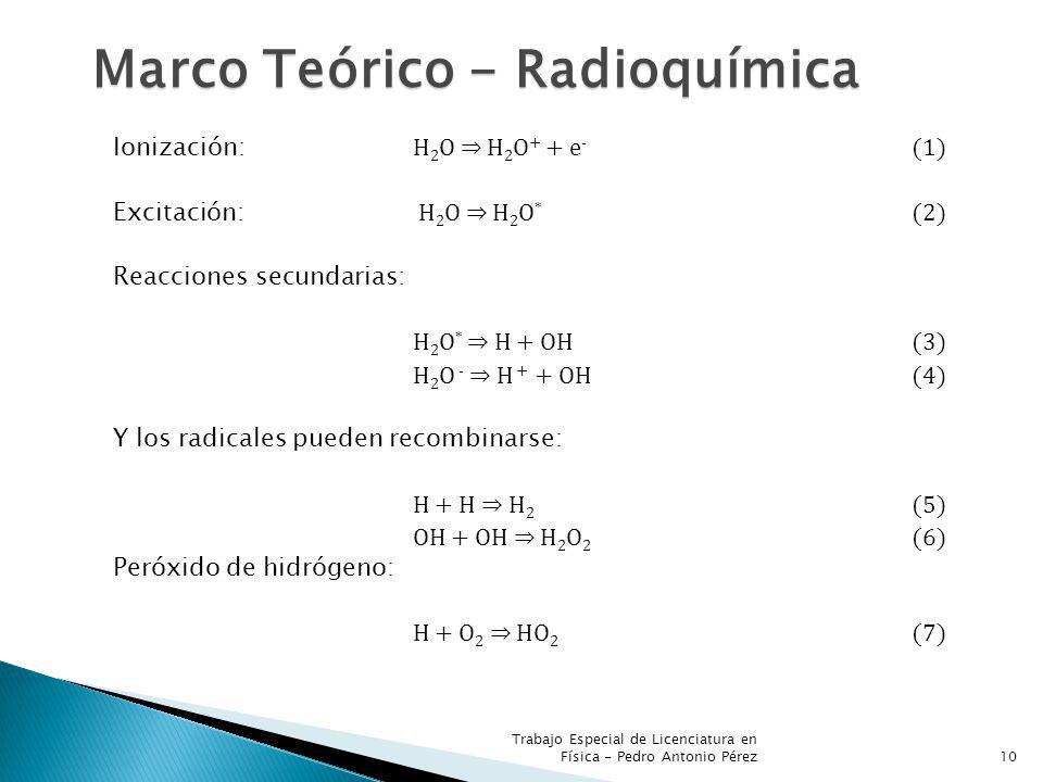 Trabajo Especial de Licenciatura en Física - Pedro Antonio Pérez10 Marco Teórico - Radioquímica Ionización: H 2 O H 2 O + + e - (1) Excitación: H 2 O H 2 O * (2) Reacciones secundarias: H 2 O * H + OH (3) H 2 O - H + + OH (4) Y los radicales pueden recombinarse: H + H H 2 (5) OH + OH H 2 O 2 (6) Peróxido de hidrógeno: H + O 2 HO 2 (7)