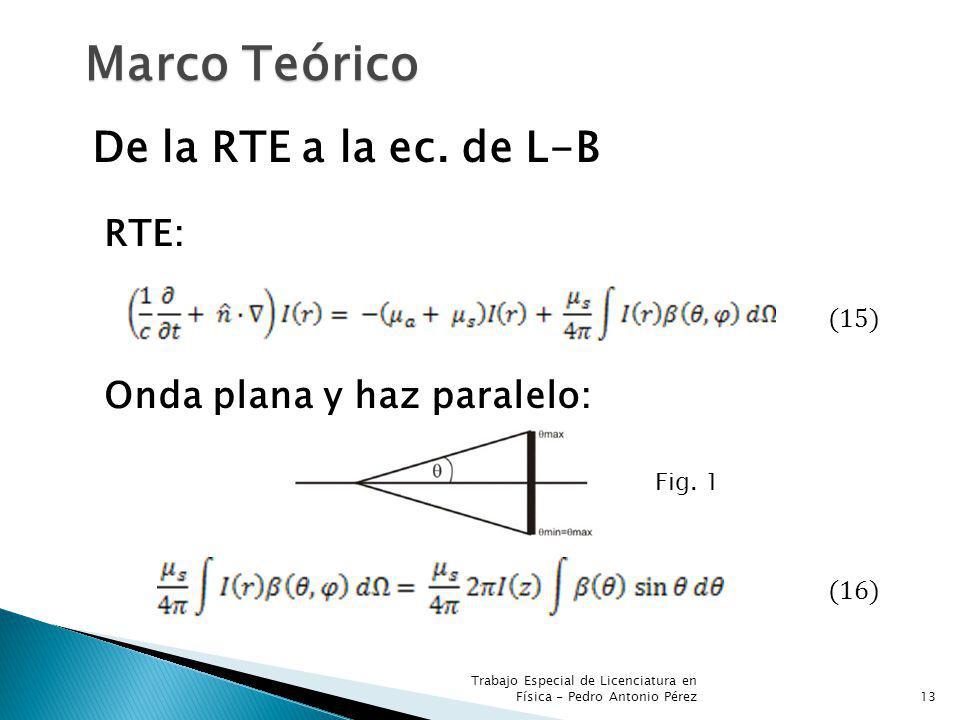Trabajo Especial de Licenciatura en Física - Pedro Antonio Pérez13 Marco Teórico De la RTE a la ec. de L-B RTE: (15) Onda plana y haz paralelo: (16) F