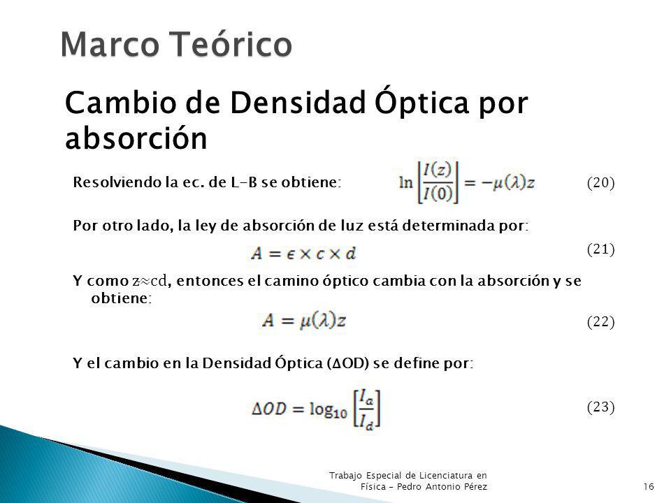 Trabajo Especial de Licenciatura en Física - Pedro Antonio Pérez16 Marco Teórico Cambio de Densidad Óptica por absorción Resolviendo la ec. de L-B se