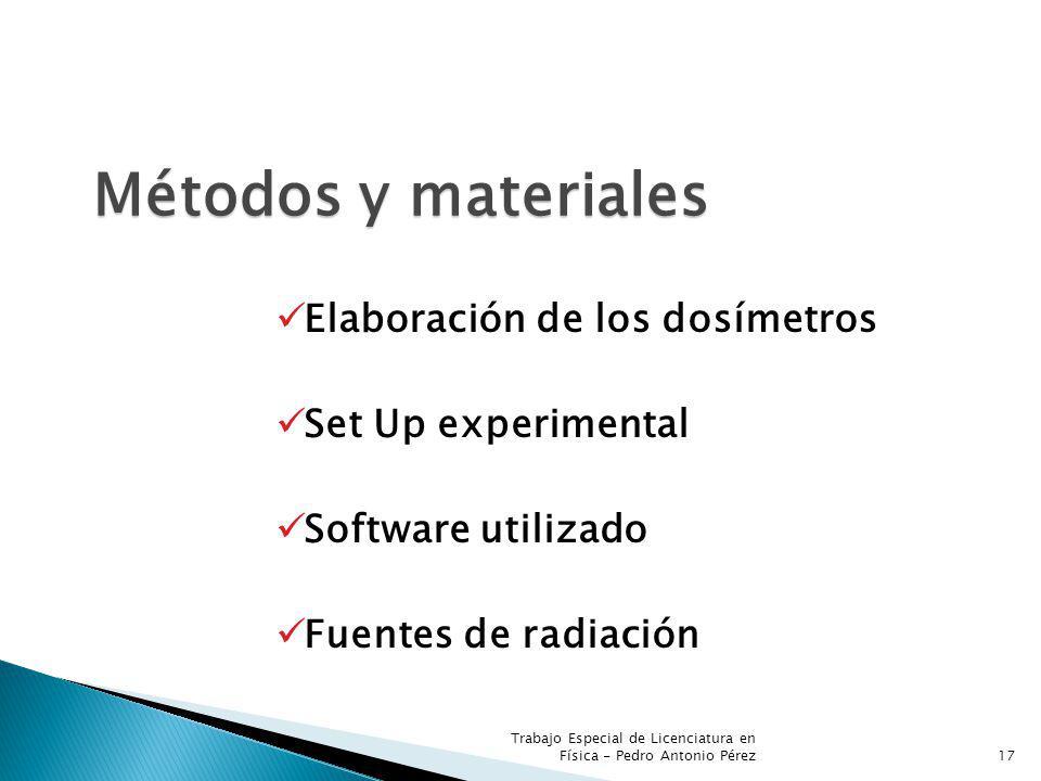 Métodos y materiales Elaboración de los dosímetros Set Up experimental Software utilizado Fuentes de radiación 17 Trabajo Especial de Licenciatura en Física - Pedro Antonio Pérez