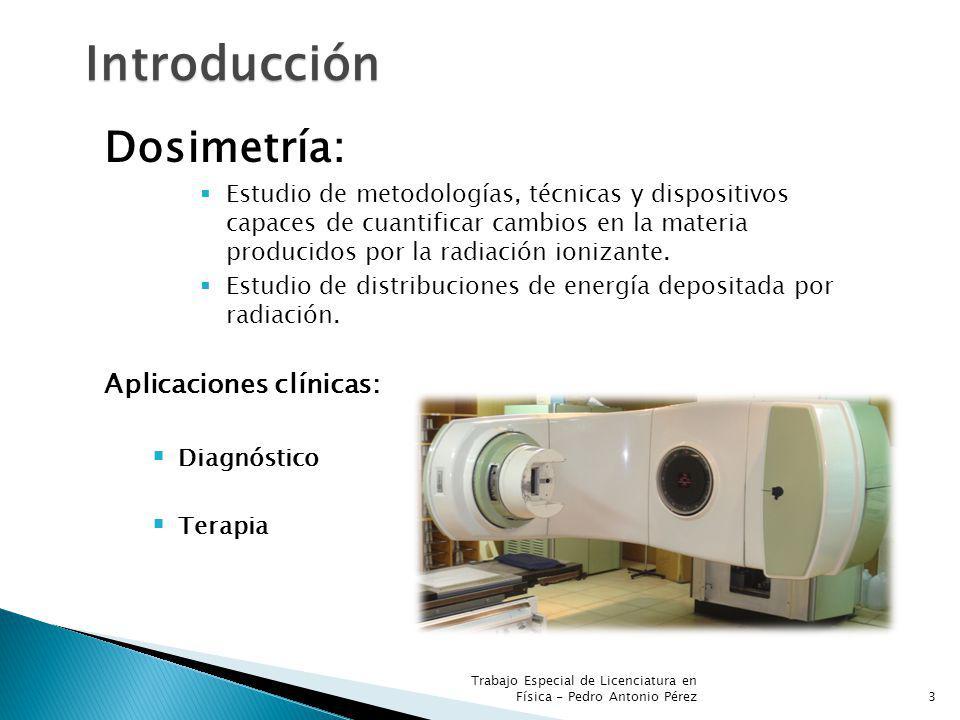 3 Introducción Dosimetría: Estudio de metodologías, técnicas y dispositivos capaces de cuantificar cambios en la materia producidos por la radiación ionizante.