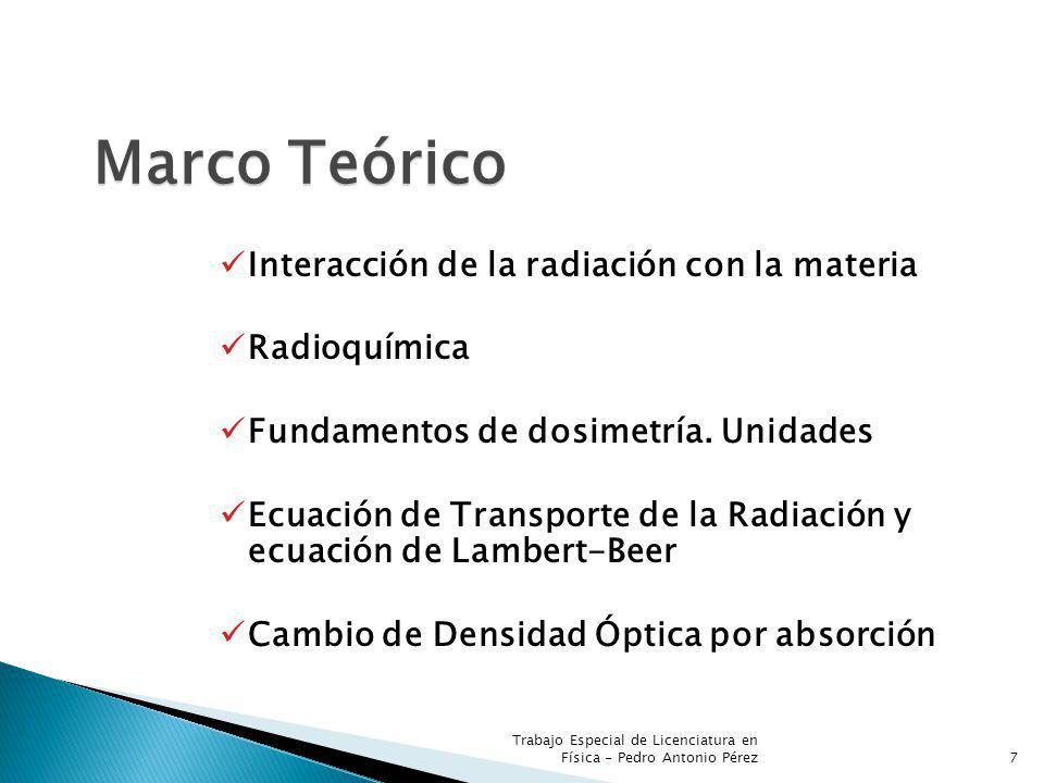 Marco Teórico Interacción de la radiación con la materia Radioquímica Fundamentos de dosimetría. Unidades Ecuación de Transporte de la Radiación y ecu
