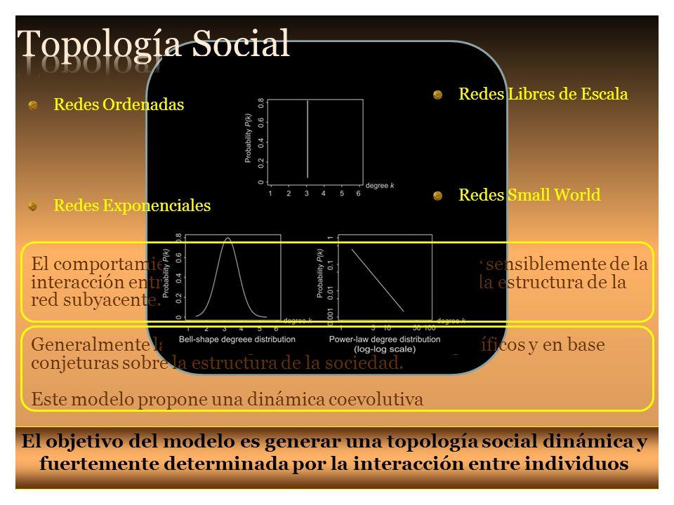 El comportamiento de un sistema social va a depender sensiblemente de la interacción entre la dinámica del sistema estudiado y la estructura de la red