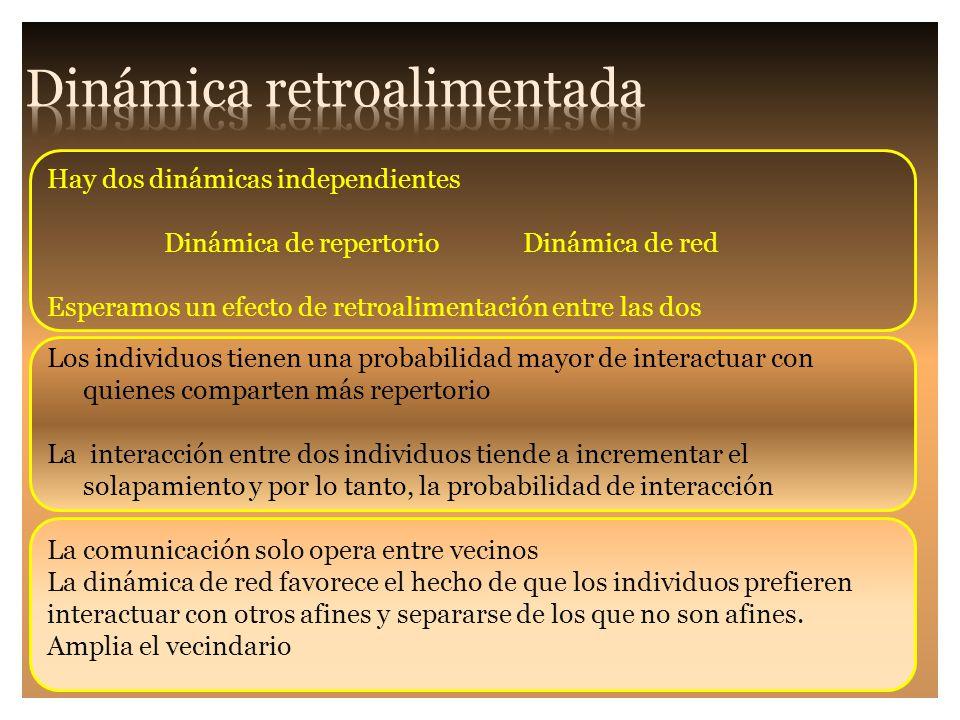 Hay dos dinámicas independientes Dinámica de repertorio Dinámica de red Esperamos un efecto de retroalimentación entre las dos Los individuos tienen u