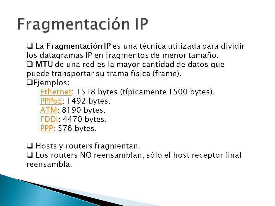 Fragmentación: Se envía un paquete de H1 a H2 de 1300 bits (1320 en total con encabezamiento) P2011300 P200460 P24600 P29201380 IdDespFinalBits de datos En la red de MTU 480: