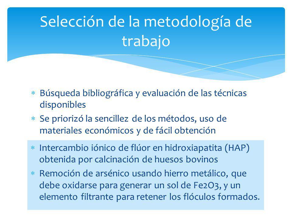 Selección de la metodología de trabajo Búsqueda bibliográfica y evaluación de las técnicas disponibles Se priorizó la sencillez de los métodos, uso de