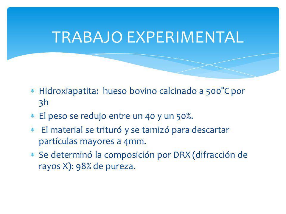 TRABAJO EXPERIMENTAL Hidroxiapatita: hueso bovino calcinado a 500°C por 3h El peso se redujo entre un 40 y un 50%. El material se trituró y se tamizó
