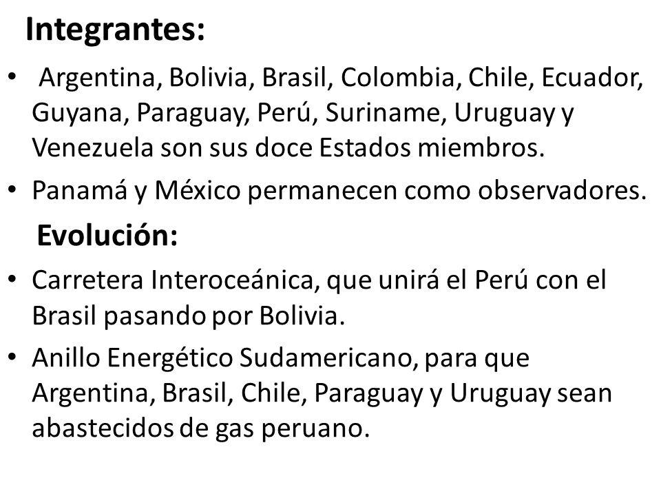 Integrantes: Argentina, Bolivia, Brasil, Colombia, Chile, Ecuador, Guyana, Paraguay, Perú, Suriname, Uruguay y Venezuela son sus doce Estados miembros.