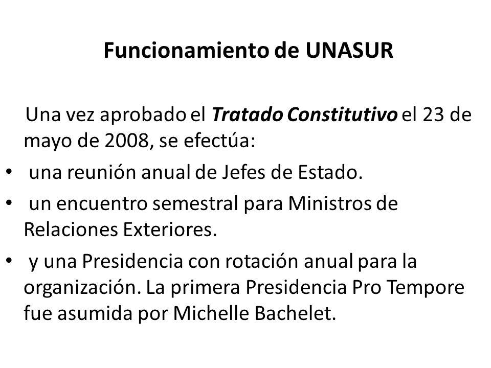 Funcionamiento de UNASUR Una vez aprobado el Tratado Constitutivo el 23 de mayo de 2008, se efectúa: una reunión anual de Jefes de Estado. un encuentr
