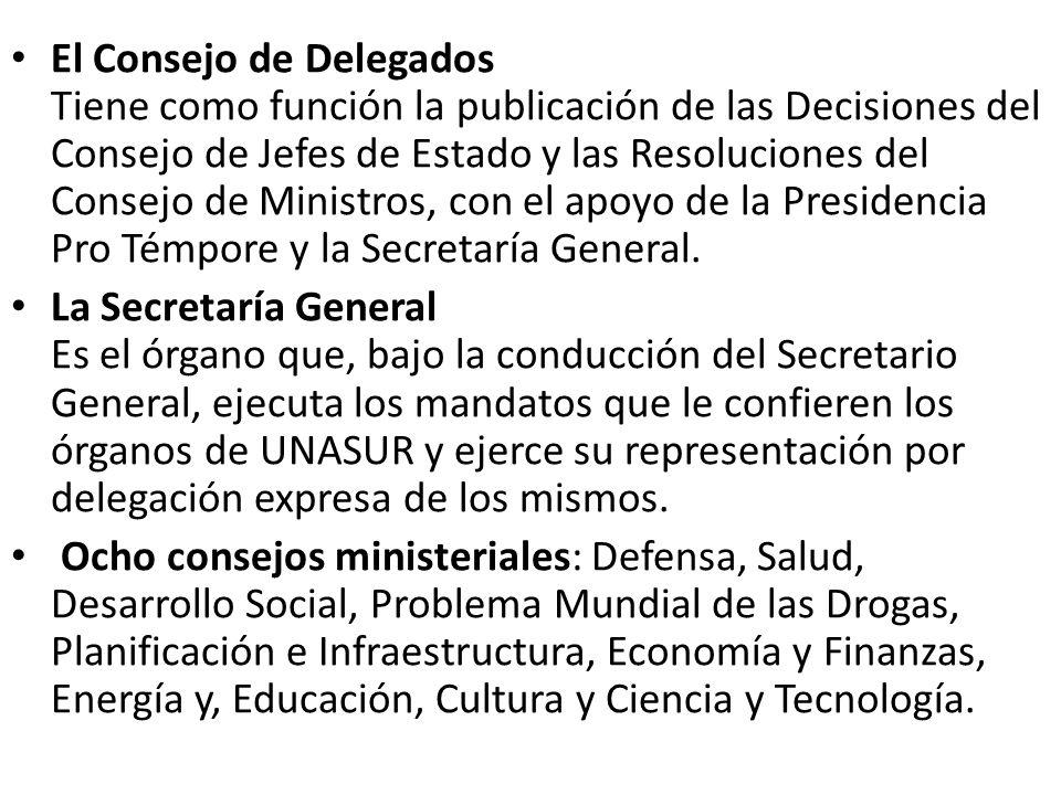 El Consejo de Delegados Tiene como función la publicación de las Decisiones del Consejo de Jefes de Estado y las Resoluciones del Consejo de Ministros