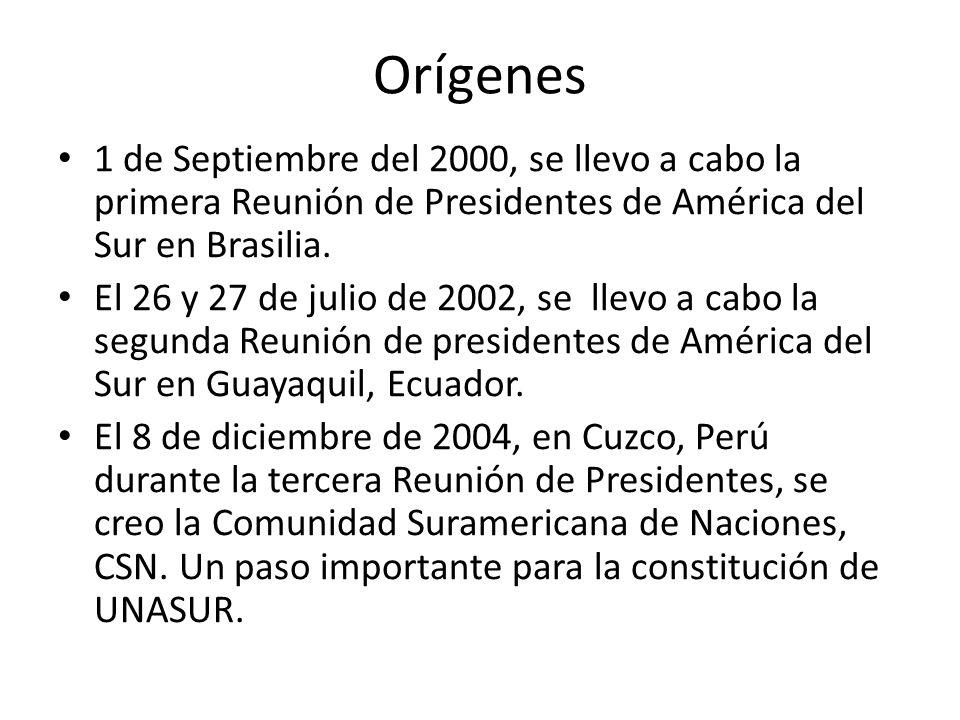 Orígenes 1 de Septiembre del 2000, se llevo a cabo la primera Reunión de Presidentes de América del Sur en Brasilia. El 26 y 27 de julio de 2002, se l