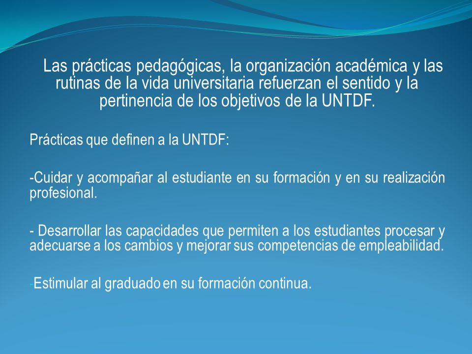Las prácticas pedagógicas, la organización académica y las rutinas de la vida universitaria refuerzan el sentido y la pertinencia de los objetivos de la UNTDF.