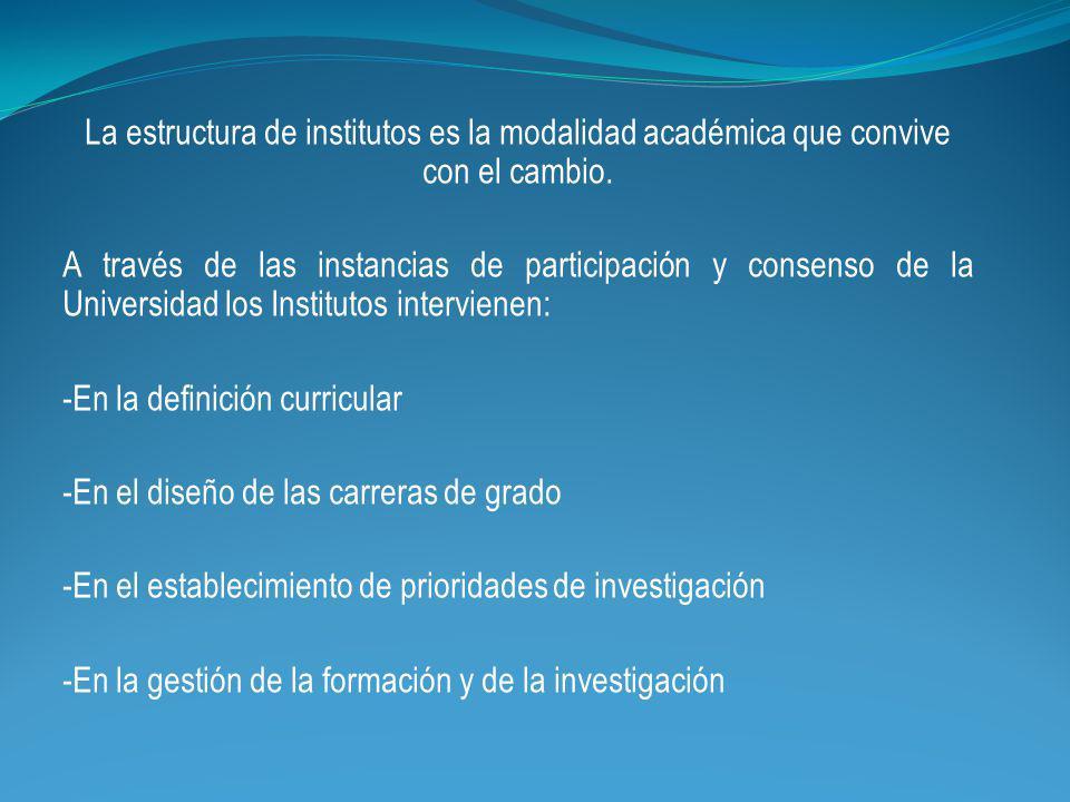 La estructura de institutos es la modalidad académica que convive con el cambio.
