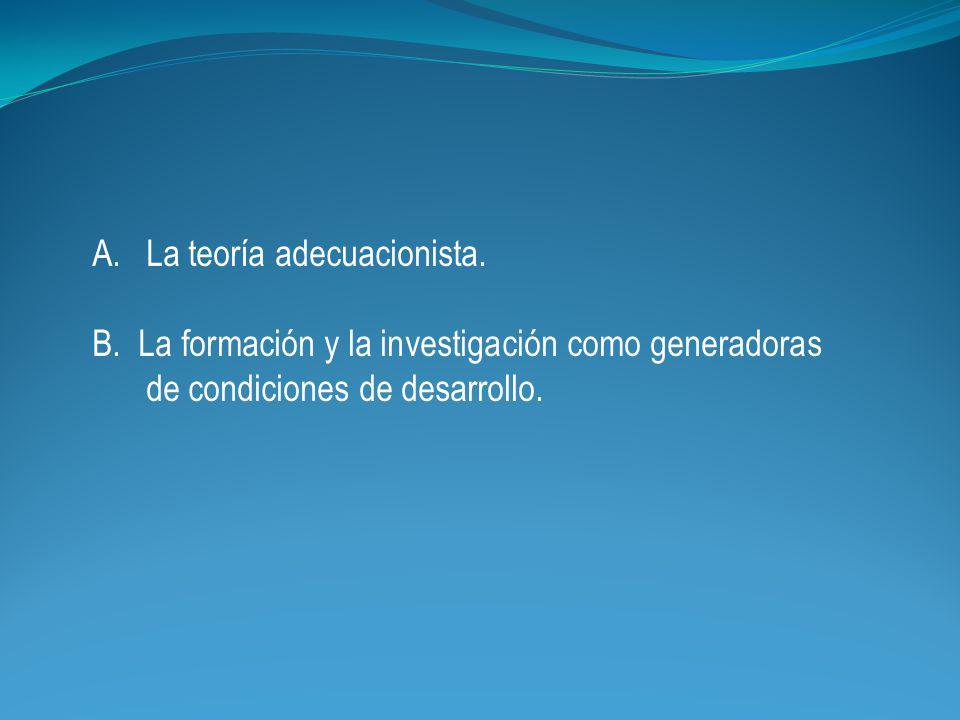A.La teoría adecuacionista. B.