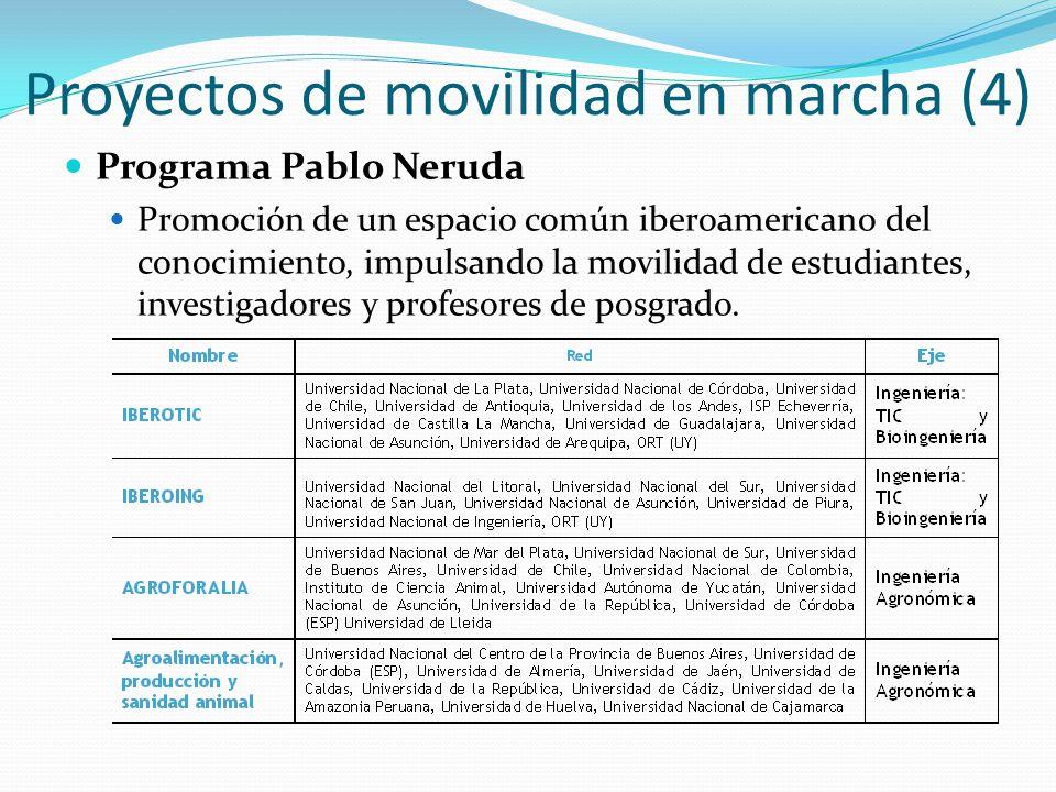 Proyectos de movilidad en marcha (4) Programa Pablo Neruda Promoción de un espacio común iberoamericano del conocimiento, impulsando la movilidad de estudiantes, investigadores y profesores de posgrado.