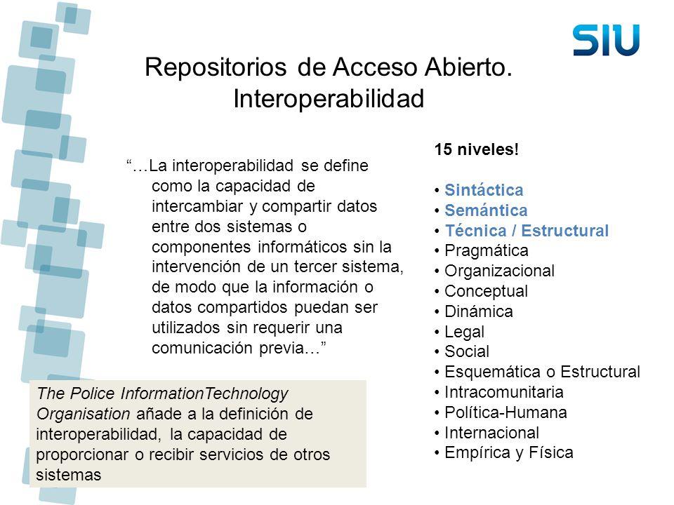 Repositorios de Acceso Abierto. Interoperabilidad …La interoperabilidad se define como la capacidad de intercambiar y compartir datos entre dos sistem