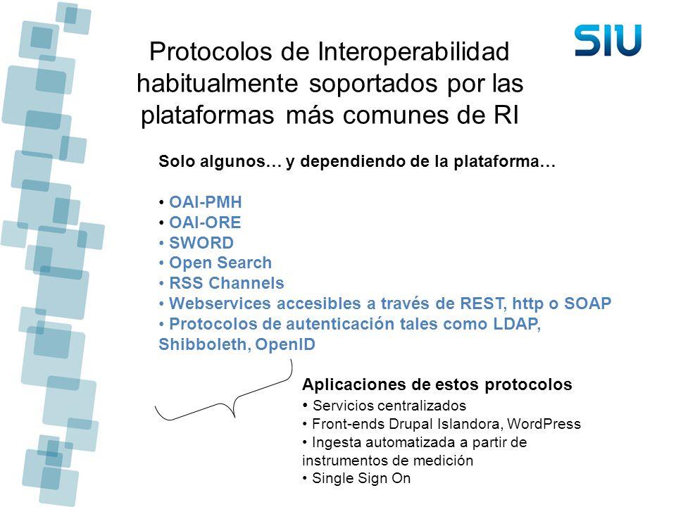 Protocolos de Interoperabilidad habitualmente soportados por las plataformas más comunes de RI Solo algunos… y dependiendo de la plataforma… OAI-PMH O