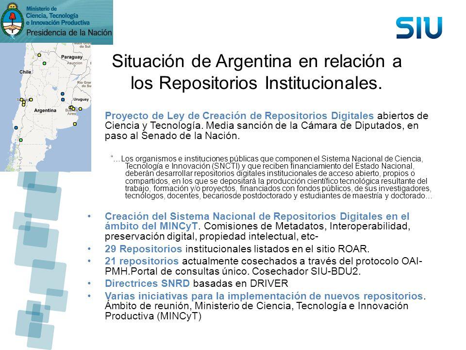 Situación de Argentina en relación a los Repositorios Institucionales. Proyecto de Ley de Creación de Repositorios Digitales abiertos de Ciencia y Tec