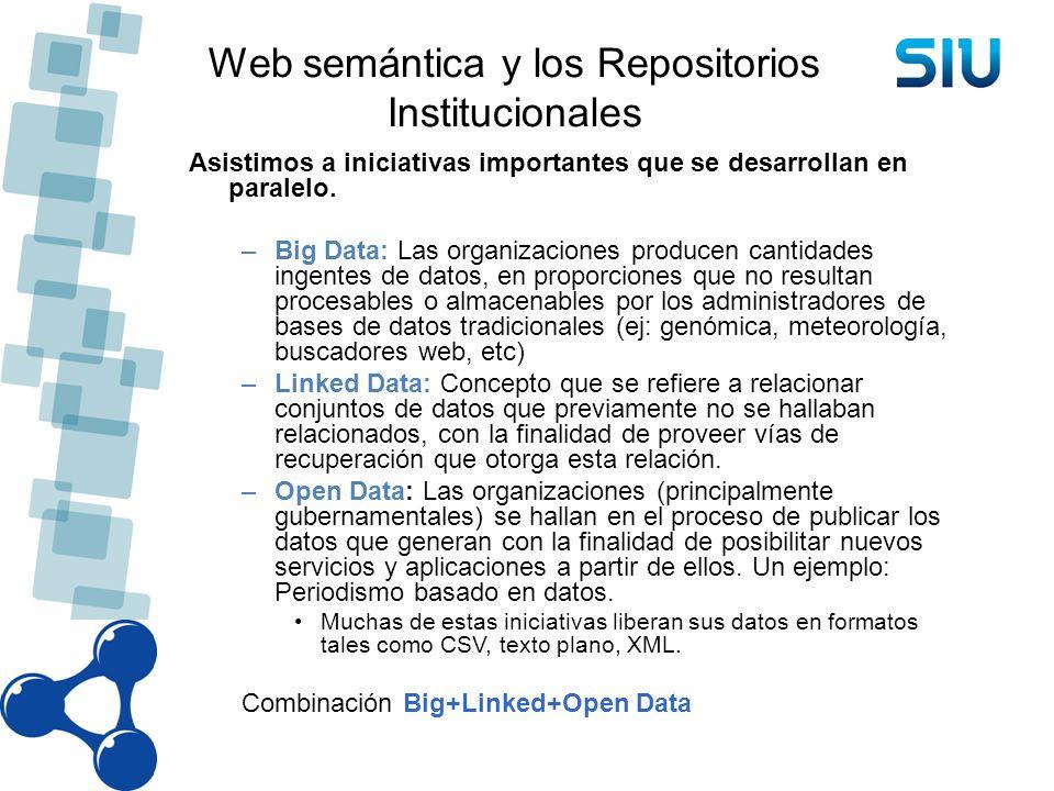 Web semántica y los Repositorios Institucionales Asistimos a iniciativas importantes que se desarrollan en paralelo. –Big Data: Las organizaciones pro