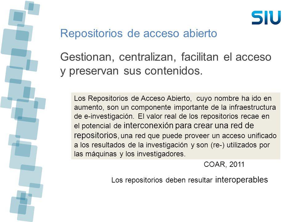 Repositorios de acceso abierto Gestionan, centralizan, facilitan el acceso y preservan sus contenidos. Los Repositorios de Acceso Abierto, cuyo nombre