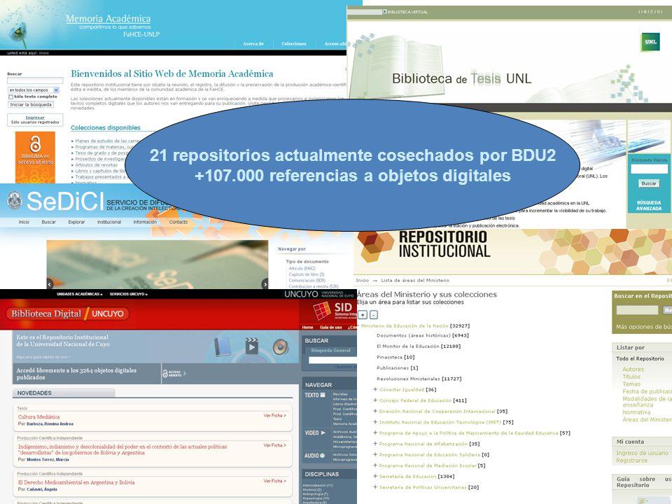 21 repositorios actualmente cosechados por BDU2 +107.000 referencias a objetos digitales