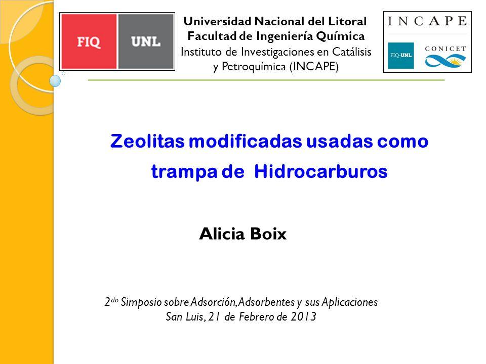 Zeolitas modificadas usadas como trampa de Hidrocarburos Alicia Boix 2 do Simposio sobre Adsorción, Adsorbentes y sus Aplicaciones San Luis, 21 de Feb