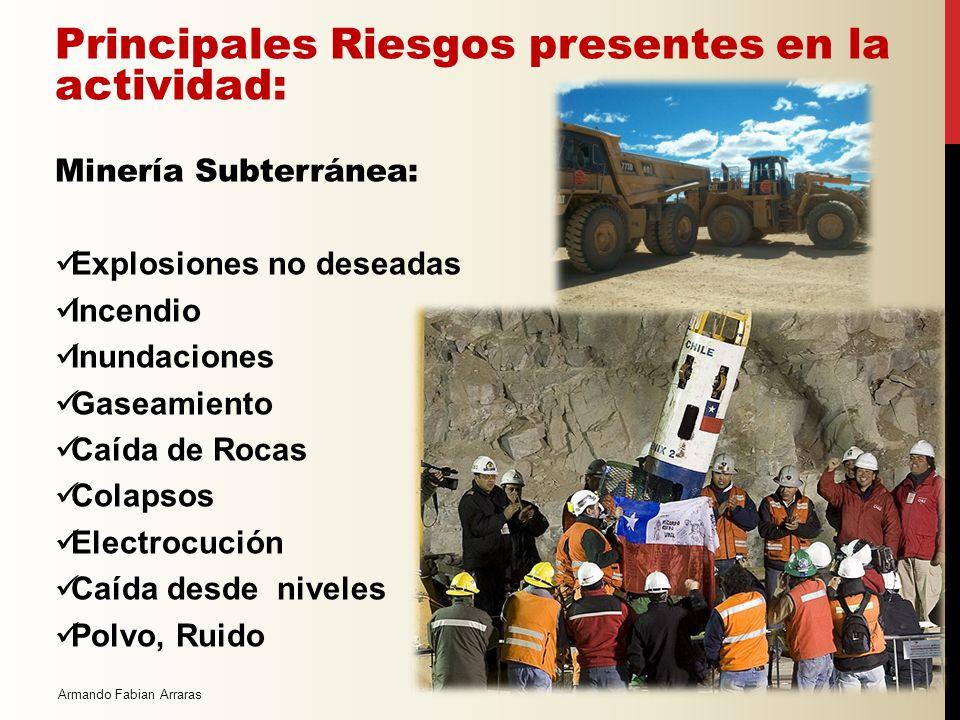 Armando Fabian Arraras Principales Riesgos presentes en la actividad: Minería Cielo Abierto: Explosiones no deseadas Caída de equipos desde bancos de