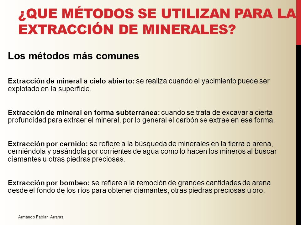 ¿COMO SE CLASIFICAN LOS MINERALES? Tipos de Minerales a) Minerales Metálicos Hierro, aluminio, cromo, manganeso, titanio, magnesio, cobre, plomo, zinc