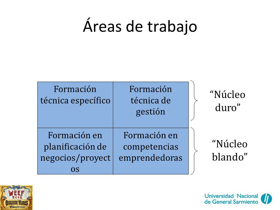 Áreas de trabajo Formación técnica específico Formación técnica de gestión Formación en planificación de negocios/proyect os Formación en competencias emprendedoras Núcleo duro Núcleo blando