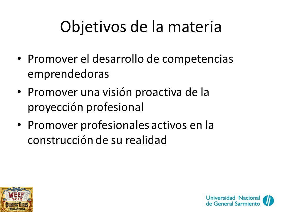 Objetivos de la materia Promover el desarrollo de competencias emprendedoras Promover una visión proactiva de la proyección profesional Promover profesionales activos en la construcción de su realidad
